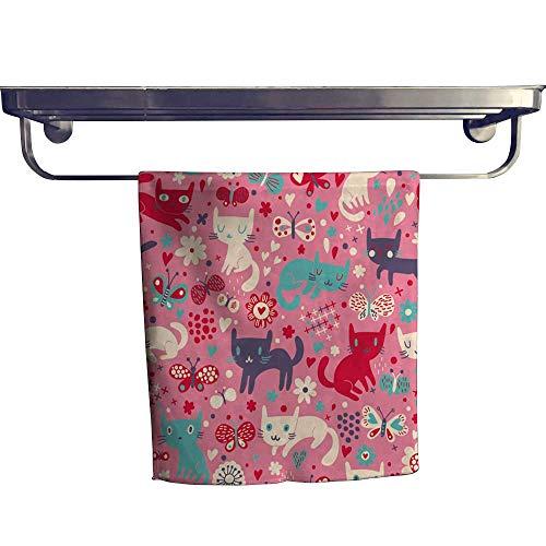 Leigh home Beach Towel,Cats Cartoon for Children backgroun Wallpaper Cats ,Super Soft & Absorbent Fade Resistant Cotton Terry Towel W 14
