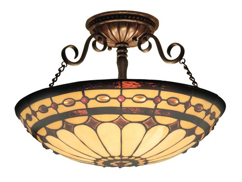 Elk 641-Bc Diamond Ring 3-Light Semi-Flush Mount, 11-Inch, Burnished - Stores Tiffany Outlet