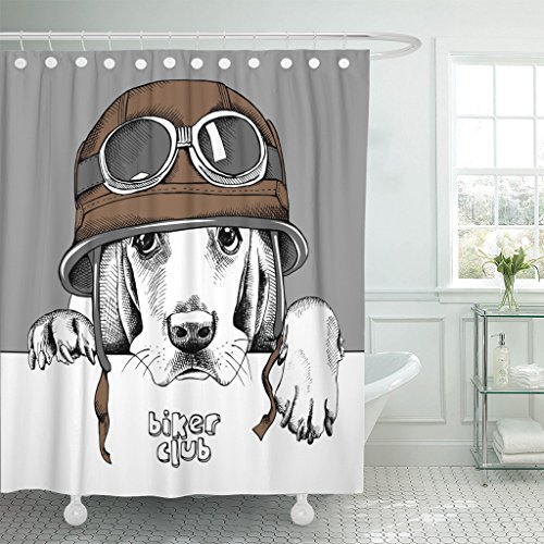 Emvency Fabric Shower Curtain Curtains Hooks White Dog Portrait Basset Hound in Retro Brown Motorcyclist Helmet on Gray Goggles Motorcycle Pilot Sketch 72