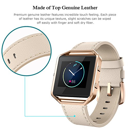 """Fitbit Blaze Bands Leather with Frame Small Large (5"""" 8.2""""), Swees Genuine Leather Replacement Band with Silver/Rose Gold/Black Metal Frame for Fitbit Blaze Women Men, Black, Brown, White, Pink, Blue"""