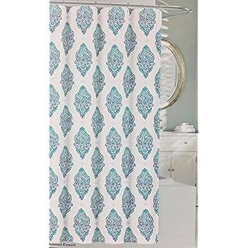 Perfect Nicole Miller Shower Curtain Leonard Damask (Turquoise)