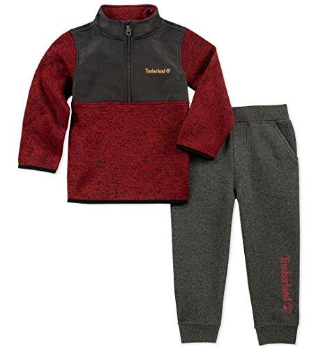 (Timberland Baby 2 Pieces Sweater Jog Set, Charcoal, 18M)