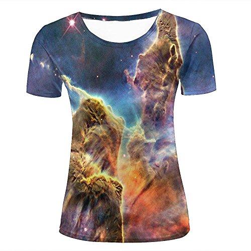 Women's Novelty 3D Graphic Printed T Shirts Carina Nebula Rainbow Light Summer Short Sleeve T-Shirt Tops L