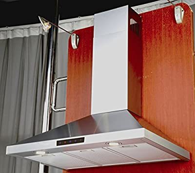 Kitchen Bath Collection 36-inch Wall-mounted Stainless Steel Range Hood with Touch Screen Control Panel, Capable of Vent-less Operation. LED Lights 3x Brighter Than Competing Models