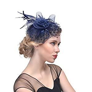 Rosfajiama Women Fascinator Headband Cocktail Hat Fashion Feather Bridal Clip Hat Navy