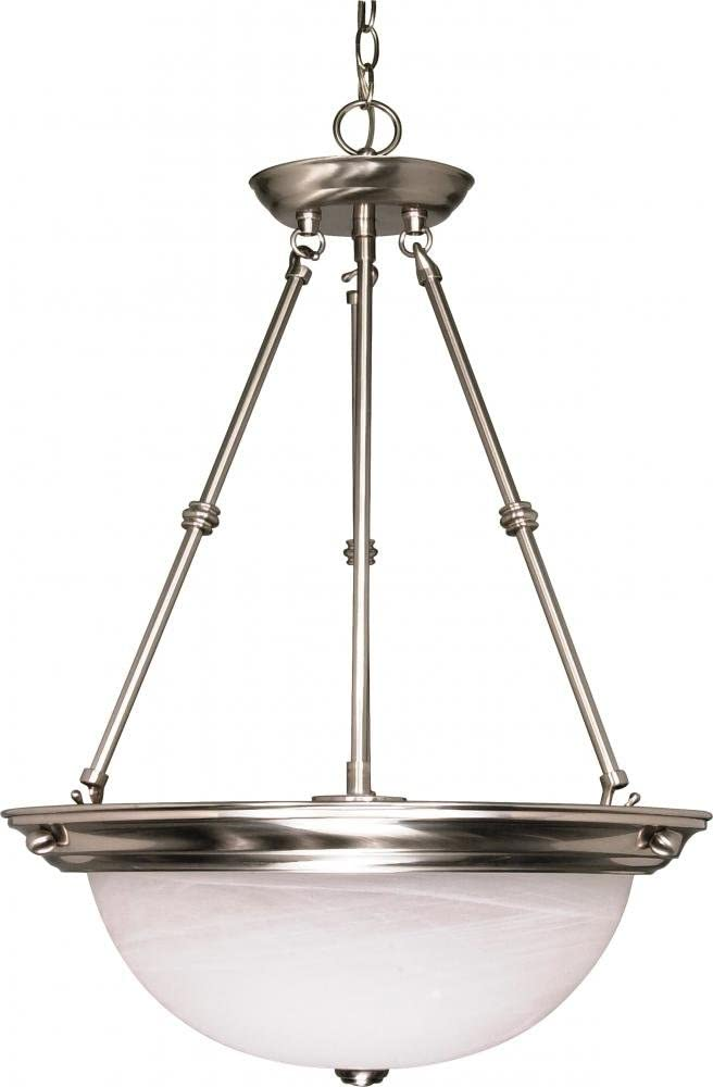 NUVO 60 204 Three National products Light Glass Pendant Brushed Nickel Over item handling Alabaster