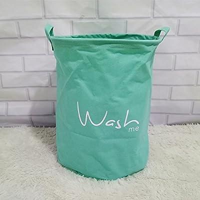 Luckyfree Panier à linge en coton d'Panier linge sale débris jouet Snack-panier de rangement, 35 * 45 cm, vert clair