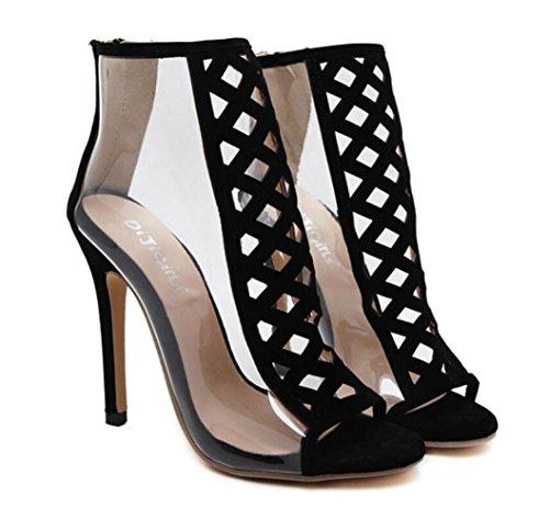 Black Nuevo De Open Shoes Tacones Linyi Toe Hollow Aguja High Sandalias Ladies Transparentes Wild Ayuda Mujer Summer w0qax5541