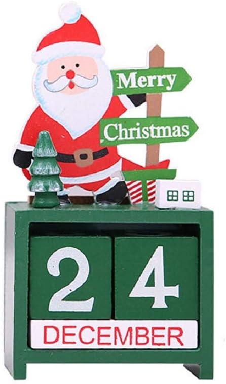Christmas Advent Countdown Calendar Number Date Wooden Blocks Tabletop Desk Calendar Decoration for Home Office Decoration (Santa)