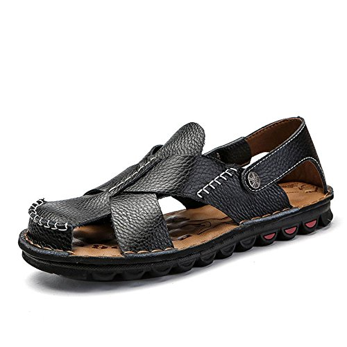 Head Breathable Men's Round QXH Shoes Black Casual Beach Sandals Leather 6qYPp