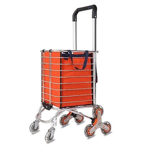 JJHOME-Carritos Aleación de Aluminio Ligero de Lujo 8 Ruedas Carro de Compras Grande Plegable