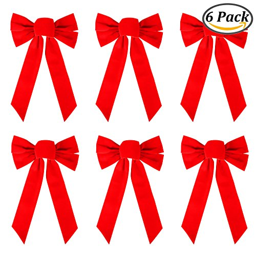 Resinta 6 Pack Red Velvet Christmas Bow for Holiday Christmas Decoration or Home Décor, 10 Inch by 16 Inch (6) Red Bow Christmas Decorations