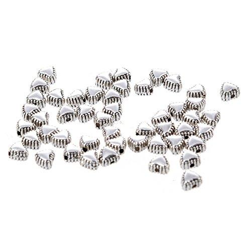 TOOGOO(R) 50pcs Tibetan Silver Sweet Heart Spacer Metal Beads 6mm ~Jewelry Findings~ ()