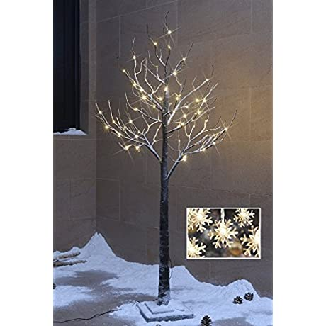 Lightshare Snow Tree 5 Feet 72 LED Light With 10 LED Snow Flake Light Warm White