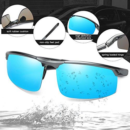 Lunettes de soleil plein soleil Duco soleil pour UV400 air Bleu avec de verres 8550 Lunettes polarisées Lunettes colorés Hommes de Gunmetal sports incassables de qT8awqZO