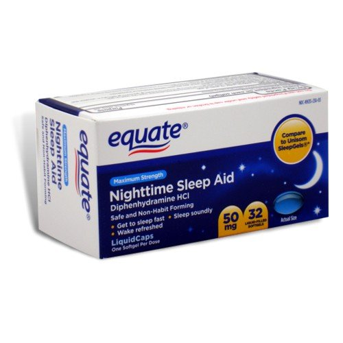 Equate - Nighttime Sleep Aid 50 mg, Maximum Strength, 32 gélules (Comparer à SleepGels Unisom)