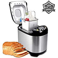 Bread Maker 19 Automatic Programs Bread Machine, Programmable Breadmaker Machine with 3 Crust Color, 15 Hours Delay Time and LCD Display- Stainless Steel, 1LB/1.5LB/2LB