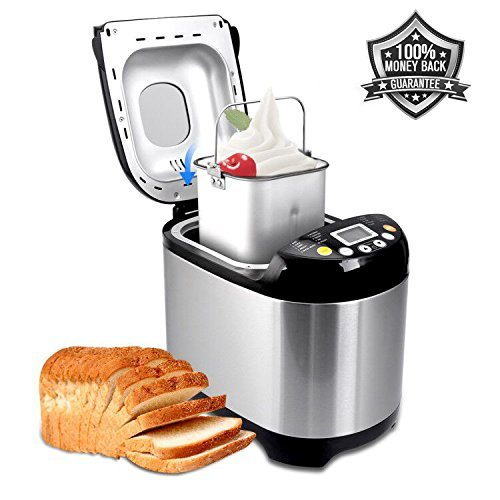 (Bread Maker Programmable Bread Machine with Bread Maker Recipe, 15 Hours Delay Time and 19 Digital LCD Display)