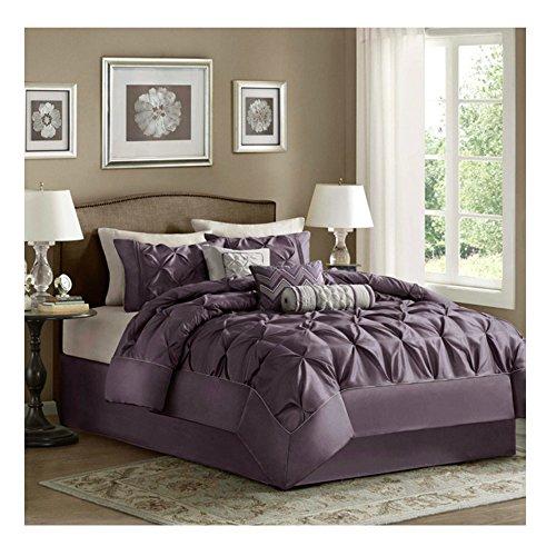 King Comforter Set Modern Luxury Bedding Collection - 7 Piece, Plum