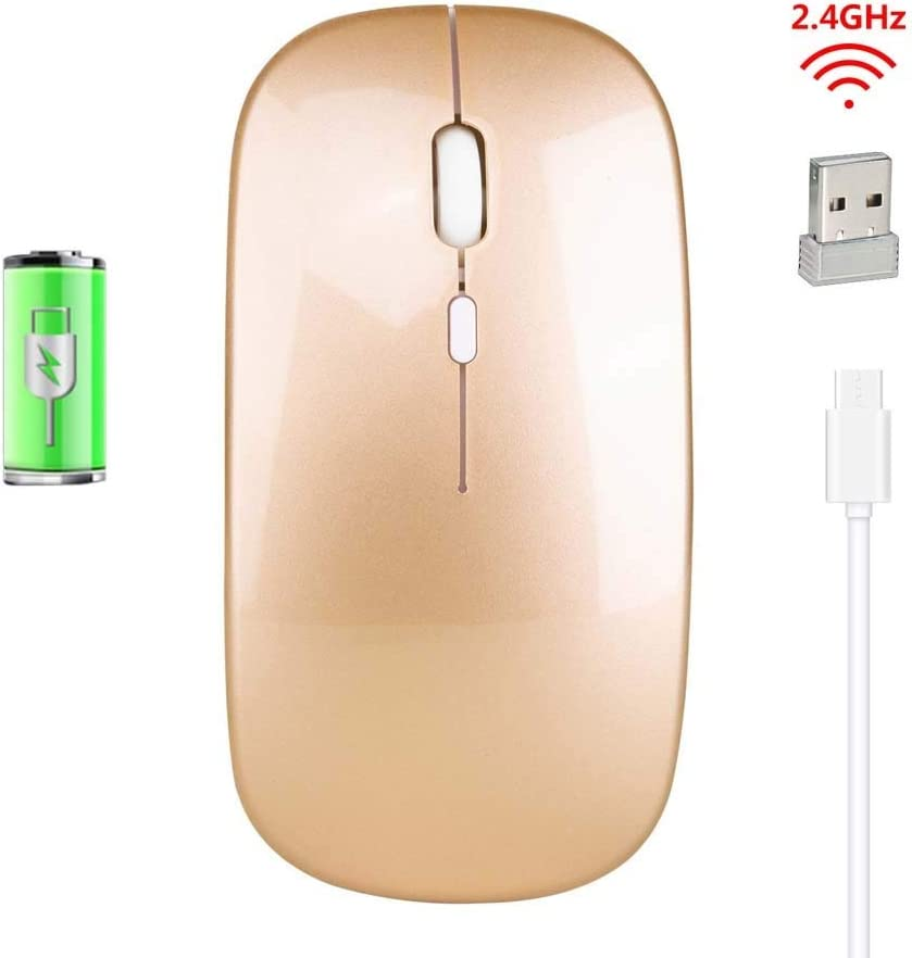 TONGZHENGTAI Rechargeable Wireless Mouse ABS Mute 2.4Ghz Office Mouse 500 MAh Integral Battery Slim Amber High Speed