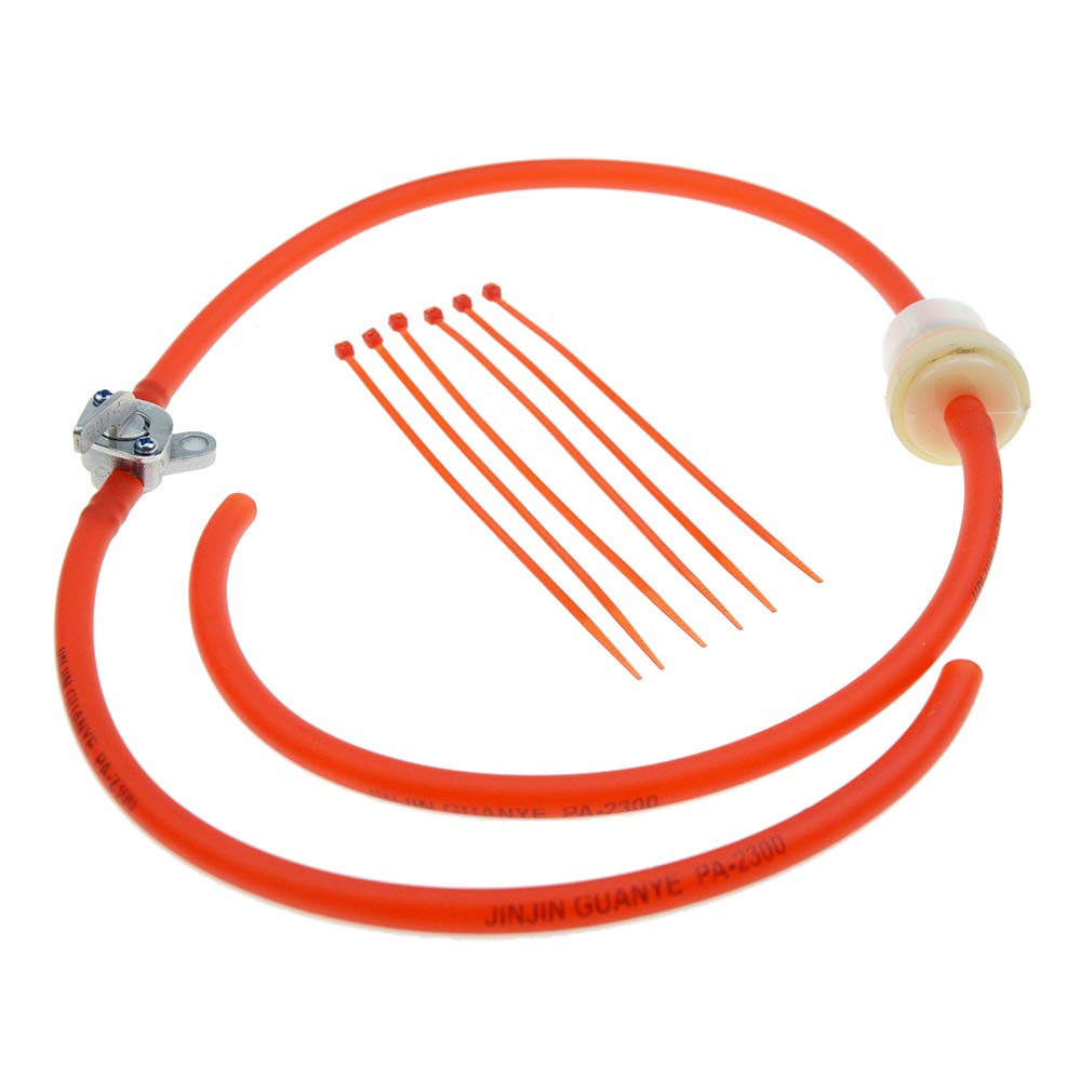 WOOSTAR 4mm Inner Gasoline Hose Fuel Rubber Tube Line with fuel filter Fuel Switch for Moped Scooter Dirt Bike ATV Red