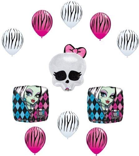 MONSTER HIGH Badge SKULLETTE Zebra Stripe Birthday Party Decoration Balloons SET