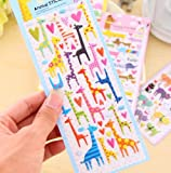ONOR-Tech 4 Sheets Cute Lovely Cartoon Animal 3D DIY Decorative Adhesive Puffy Sticker Tape / Kids Craft Scrapbooking Sticker Set for Diary, Album