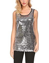 Women's Sleeveless Sparkle Shimmer Camisole Loose Sequined Vest Tank Tops