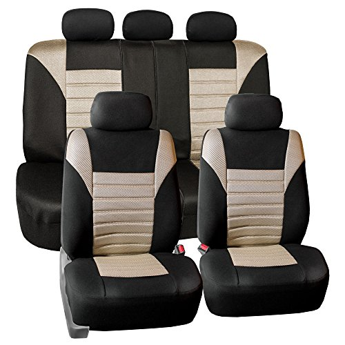 FH GROUP FH-FB068115 Premium 3D Air Mesh Seat Covers Full Set (Airbag & Split Ready) Beige / Black Color- Fit Most Car, Truck, Suv, or Van