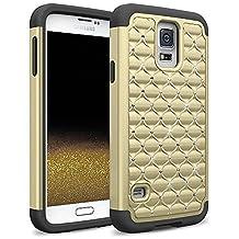 Samsung Galaxy S5 / S5 Neo Rhinestone Bling Diamond Hybrid Case Cover Skin - Gold