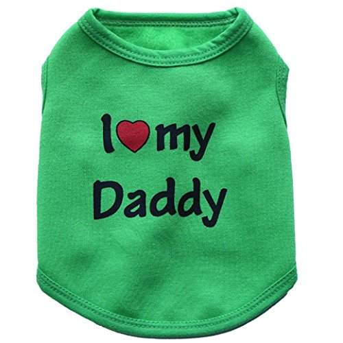 Howstar Pet Clothes, Puppy Love Daddy Print Sweatshirt Doggie Vest Apparel (Green, S)