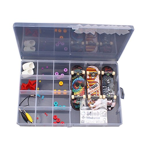 LE BI YOU all in One Kids DIY Fingerboard Toy with Nuts Trucks Tool Kit Basic Bearing Wheels Obstacles by LE BI YOU
