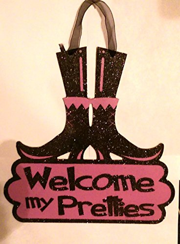halloween-witch-legs-and-boots-sign-welcome-my-pretties-decoration