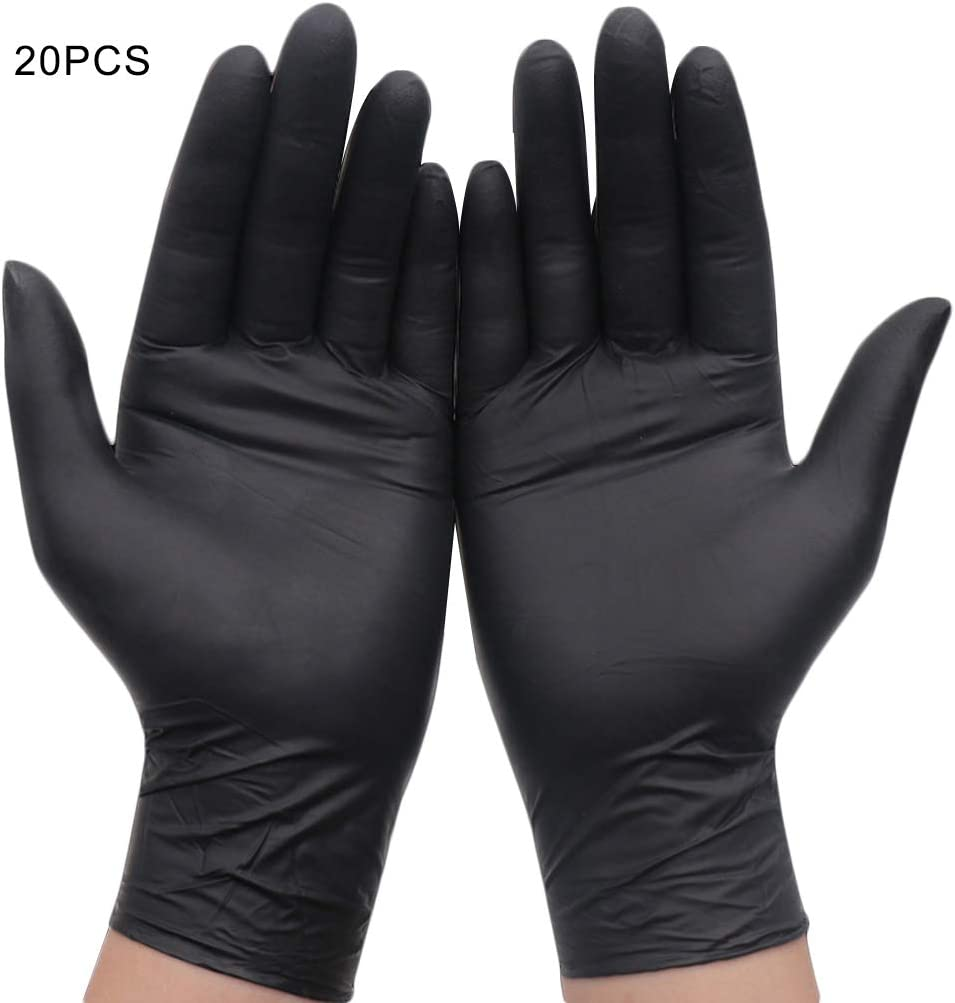 YOSIYO 20pcs Black Disposable Gloves Powder Free Latex Free Mechanic Tattoo Beauty Care Body Art Gloves