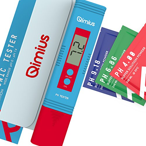 Qimius Digital pH Meter | High Accuracy Household pH Tester for pH 0 - 14 Water Quality Test and ATC | 3 Sachets of pH Scale Powder | Add-on Qimius pH Balance Powder Pack of Extra 6 Sachets (Use Code) - Hach Water Quality Test Strips