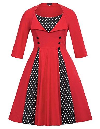 Women's 1950s Plus Size Cut Out Vintage Casual Dress (Womens 50s Clothes)