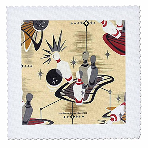 Lee Hiller Designs 50s Retro Print - Atomic Bowling - 10x10 inch quilt square (qs_4949_1) ()