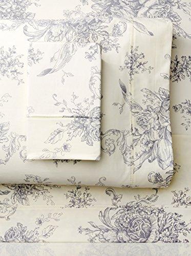 Cotton Toile Sheet Set (Melange Home 207435 Toile Printed Cotton Flannel Sheet Set, 4 Piece Queen, Grey/Off White, 4)