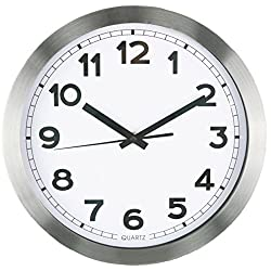 UrbanWare Large Decorative Wall Clock - Quartz Sweep - Glass Cover - 12 Inch Round Aluminum Frame - Battery Operated - White Face