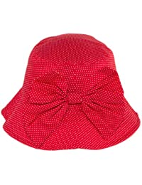 Little Girls Summer Polka Dot Sun Hat, Toddler Kids Pool Bucket Hat with Big Bow (Red Polka Dot)