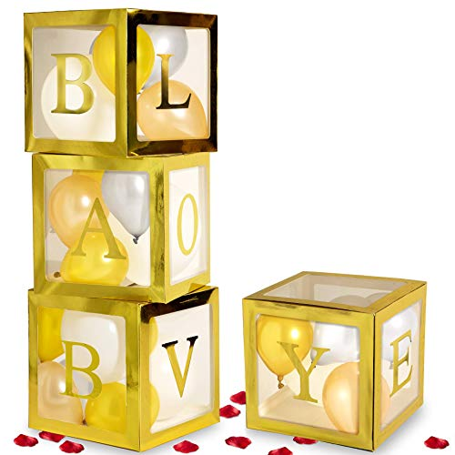 Decorations For Babyshower (Baby Shower Decorations for Girl and Boy, Gold Transparent Babyshower Boxes for Gender Reveal Party Favors, Bridal Showers Backdrop, Gold, Champagne, Silver, Pearl White Balloons in Clear Blocks, Gold BABY,)