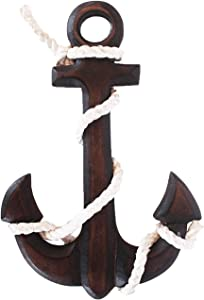 Handcrafted 12 Inches Rustic Nautical Wooden Anchor with Rope Crosses Wall Art Decor,Hanging Wood Crossbar Anchor Decorative Home Bathroom Office Beach Themed Decoration