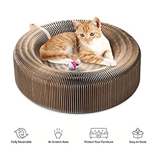 Cat ,Collapsible Cat Scratcher Lounge Post with Ball Toy Bell & Catnip, High Density Recycled Corrugated Kitty Scratching Pad Cats Turbo Toys 98