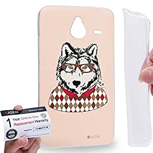 Case88 [Nokia Lumia 640XL] Gel TPU Carcasa/Funda & Tarjeta de garantía - Art Design Husky Personate Animals Art1604