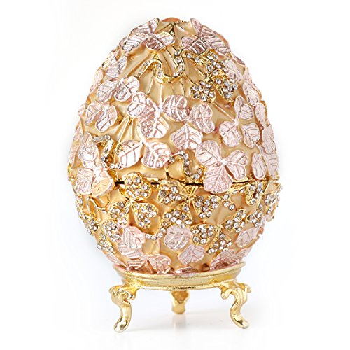 Hand-Painted Vintage Style Faberge Egg with Rich Enamel and Sparkling Rhinestones Jewelry Trinket Box (Golden Pink Leaves)