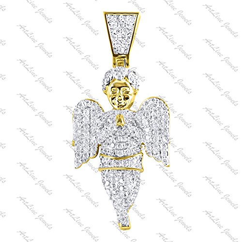 ArtLine Jewels 14K Yellow Gold Plated CZ Diamond Alloy Small Charm Angel Pendant With Chain (Yellow) by ArtLine Jewels