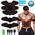 zociko ABS Stimulator Muscle Toner, Abdominal Toning Belt Muscle Smart EMS Body Trainer, USB Rechargeable LCD Display 6 Modes & 9 Levels Wireless Portable Unisex Fitness Training Fat Burnin