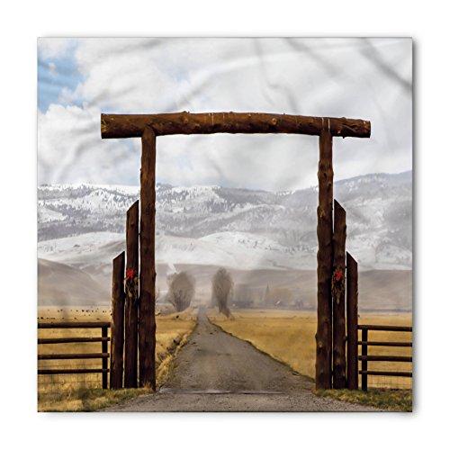 Western Bandana by Lunarable, Big Log Gate Lane Montana Cattle Ranch in Winter Countryside Hills Cloudy Sky, Printed Unisex Bandana Head and Neck Tie Scarf Headband, 22 X 22 Inches, Brown Grey (Big Sky Log)