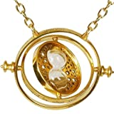 KalematStore 24k Gold Plated Necklace for Time Turner Fans, Gold Glass Hour Sand in a Branded Red Velvet Pouch and Gift Box