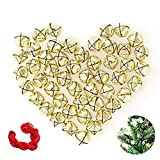 Salare 50 Pack 1 Inch Jingle Bells Christmas Gold Jingle Bells for Craft Festival Decoration with 30 Meter Red Cord and 12 Bowknots